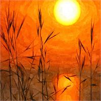 Beautiful Sunrise Oil Painting - Dawn Sunny Day With Weeds And Clear Water