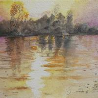 SUNSET ON THE RIVER TISA No. 1