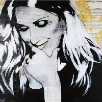 """ART Celine DION Portrait Contemporary Mixed Media On Canvas Acrylic Painting Black Art Collections Modern 22""""x28"""" By Kathleen Artist PRO"""