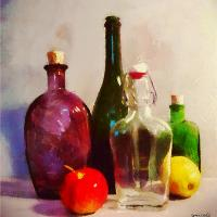 Bottles and Fruits
