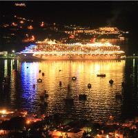 Cruise Ship And Harbor At Night Charlotte Amalie St Thomas Photograph By Roupen Baker
