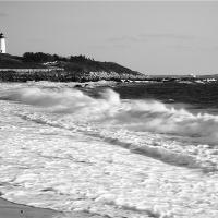 Atlantic Surf At Nobska Point Lighthouse