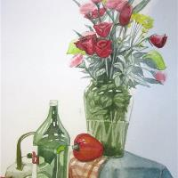 Floral and  A Shiny Vase