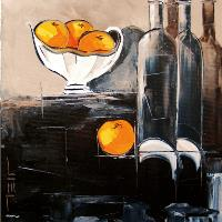 Bottles Of Wine And Oranges