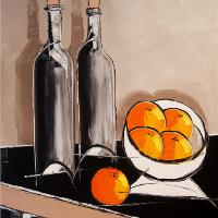 Bottles F Wine And Oranges