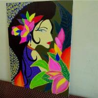 Girl With A Flower Canvas Painting Home Lifestyle