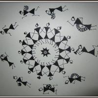 Warli Art(framed)