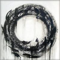 Large Black And White Contemporary Abstract Circle Painting