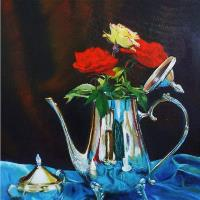 Silver Tea Pot With Blue Satin