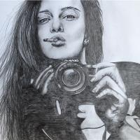 smoking girl holding camera gadis kamera
