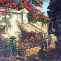 The Traditional Market In Java (signed 'R. Hadi' On The Right Bottom)