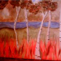 Birches With Flame Grass