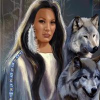 Native American Maiden With Wolfs