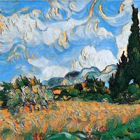 Wheat Field With Cypress Depiction