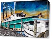 Shrimp Boats Painting As Canvas