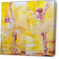 Ballerina In Yellow I & II As Canvas