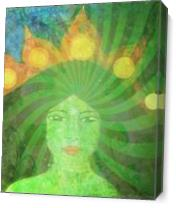 Green Tara Goddess As Canvas