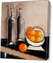 Bottles F Wine And Oranges As Canvas