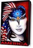 America Portrait of A Woman with Big White Face and Flag Over Head As Canvas