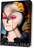 Capitalism Portrait Woman Big Face As Canvas