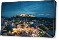 Athens Greece At Dusk As Canvas