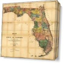 Map Of Florida (1856) As Canvas