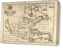 North America Map (1722) As Canvas