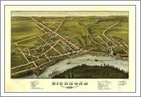 Aerial View Of Richmond, Maine (1878) - No-Wrap