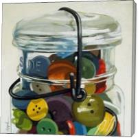 Old Button Jar - Realistic Still Life - Gallery Wrap