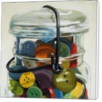 Old Button Jar - Realistic Still Life - Standard Wrap