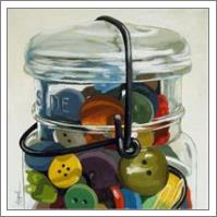 Old Button Jar - Realistic Still Life - No-Wrap