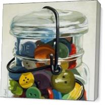 Old Button Jar - Realistic Still Life As Canvas