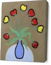 Tulips In A Blue Vase As Canvas