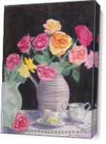 Tea And Roses As Canvas