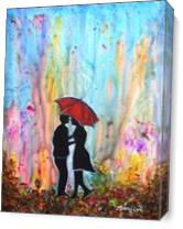 Couple On A Rainy Date Romantic Painting As Canvas