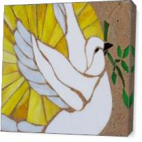 Stain Glass Peace Dove On Stone As Canvas