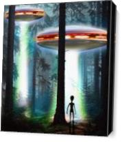 UFO Alien Forest As Canvas