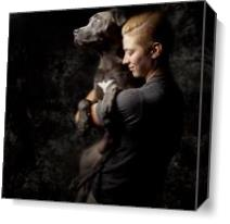 Peace With Mans Best Friend As Canvas