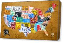 License Plate Map Of The USA On Vintage Burnt Orange Wood Slab As Canvas