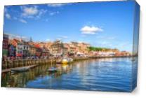 Photograph Of Whitby Harbour In Yorkshire, England As Canvas