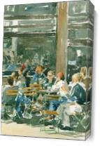 Cafe Scene As Canvas
