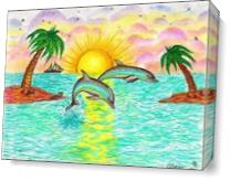 Tropical Dolphins In Paradise As Canvas