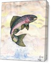 The Majestic Rainbow Trout Original Drawing As Canvas