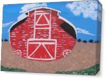 Red Wood Farm Barn As Canvas