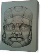 Olmec Stone Sculpture As Canvas