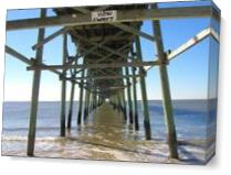 Oak Island Fishing Pier As Canvas