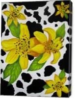 Floral Cow Print - Gallery Wrap