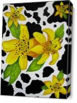 Floral Cow Print As Canvas