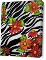 Floral Zebra Print As Canvas