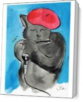 Cool Cat, Hot Harp As Canvas